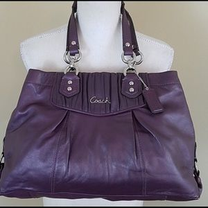 Coach Ashley Purple Plum Leather Satchel Purse